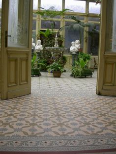 conservatory with old tiles