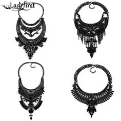 All Black Boho Statement Luxury Crystal Vintage Maxi Necklaces  Pendants Ethnic Metal Rhinestones Choker Necklace 2799