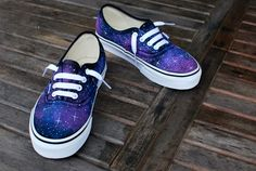 These one-of-a-kind hand-painted Authentic Vans shoes feature a galaxy pattern all over the shoes. These hand painted galaxy Vans Authentic shoes give you the feeling of being in Outer Space. Each sta