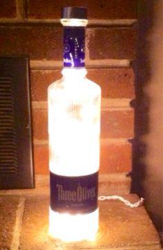 #Three Olives #Vodka #Lighted #Bottle Lamp by Lightitupcreations on Etsy
