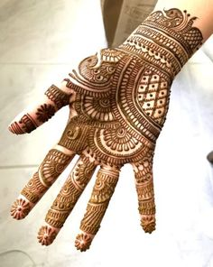 Browse the latest Mehndi Designs Ideas and images for brides online on HappyShappy! We have huge collection of Mehandi Designs for hands and legs, find and save your favorite Mehendi Design images. Henna Hand Designs, Mehndi Designs Finger, Simple Arabic Mehndi Designs, Stylish Mehndi Designs, Full Hand Mehndi Designs, Mehndi Designs For Beginners, Wedding Mehndi Designs, Beautiful Mehndi Design, Mehandi Design Simple