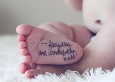 I love this photography idea for baby picturesI Would use a stamp that said Handmade by God or From God's kitchen etc..