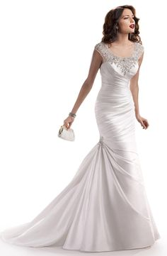 Scoop Mermaid Wedding Dress  with No Waist/Princess Seams in Satin. Bridal Gown Style Number:32761819