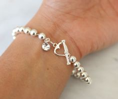 Dainty Silver Bead Bracelet Round Beads Valentine Gift Wife Birthday Girlfriend Tiffany Heart Charm