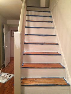 a good white: the stair risers are Ralph Lauren Cove Point. Our DIY Stair Makeover: Paint + Runner Home Renovation, Home Remodeling, Basement Renovations, Paint Runner, Staircase Makeover, Painted Stairs, Painted Floors, Affordable Home Decor, Diy Home Improvement