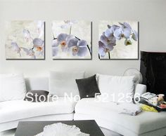 3 Pieces Free Shipping Modern Wall Oil Painting Abstract White Orchid Flower Decor Wall Art Picture Paint on Canvas Prints A433-in Painting ...