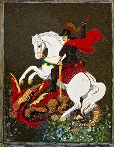 SÃO JORGE GUERREIRO Perseus And Medusa, Patron Saint Of England, Saint George And The Dragon, Patron Saints, Christian Art, Mosaic Art, Faeries, Knights, Painters