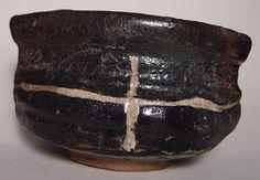 Black Oribe Tea Bowl  Oribe piece with kin-naoshi (gold repair.)  link