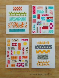 By crazy mom quilts.  What a great way to use up scraps of fabric and all the notecards I never stamped!