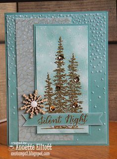 AEstamps a Latte.: Blue Christmas handmade Christmas card from AEstamps a Latte. Wonderland trees embossed in gold . aqua and vellum too . Homemade Christmas Cards, Stampin Up Christmas, Christmas Cards To Make, Noel Christmas, Handmade Christmas, Homemade Cards, Holiday Cards, White Christmas, Stampinup Christmas Cards