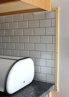 New Peel and Stick Subway Tile Backsplash — Tag & Tibby Design Kitchen Cabinet Colors, Painting Kitchen Cabinets, Kitchen Walls, Diy Kitchen Remodel, Kitchen Redo, Stick Tile Backsplash, Kitchen Backsplash, Home Improvement Projects, Home Projects