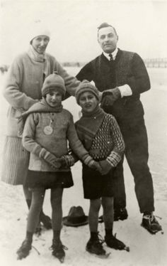 The Shefental family ice skating, prewar, Amsterdam, Holland