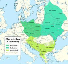 Situation des tribus Slaves aux VII-IXe siècles et distinction des Slaves de l'Ouest, Slaves de l'Est et Slaves du Sud.