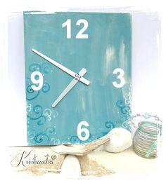 Badezimmeruhr aus Sperrholz und etwas Farbe selbst gestalten - wie das geht - Tips und Tricks rund um das Thema Uhrenbasteln gibt es im Blog www.kreativ-zauber.de