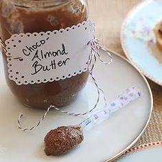 Chocolate almond butter - I use roasted almonds for mine and it makes the process so easy!  No need to scrape down the sides of the food processor as the oils of the roasted nuts keep the mixture moist enough that everything keeps moving.