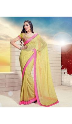 Shop the latest #Jai #Ho #sarees collection. The #designer #yellow #georgette saree is crafted with all over gold foil printed motif and the stunning contrast satin pink border. Heavy embroidered blouse comes with this saree.