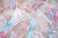 Fairy Wand Lollipops (chocolate suckers with sprinkles) love this idea for the girls. sure i could find something else for the 2 boys.