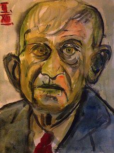 Oskar Kokoschka (1886 -1980) In zijn vroege werken keerde Kokoschka zich snel van de Jugendstil af en boog die vormen om in een expressionistische taal. Naast illustratief werk ontstonden als vroege hoofdwerken psychologisch-visionaire portretten in een dramatisch-nerveuze schildertrant.