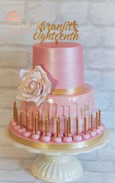 18th birthday cake. Pink & gold eggless cake