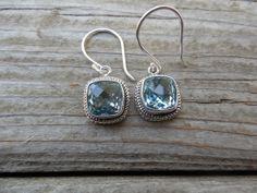 Sky blue topaz earrings handmade in sterling silver by Billyrebs, $88.00