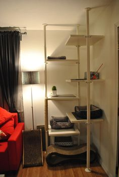 For an otherwise unusable corner, this is a great cat tree setup using IKEA Stolman. http://www.catsyards.com/product-category/beds-furniture/cat-houses-beds-furniture/ #CatRoom