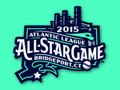 Primary logo for the 2015 Atlantic League All-Star Game, hosted by the Bridgeport Bluefish. It features the smokestacks and Amtrak train just beyond the outfield wall at Harbor Yard. The custom let...