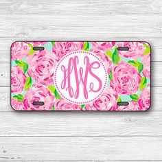 Monogram License Plate Personalized License by LeChicMonogram