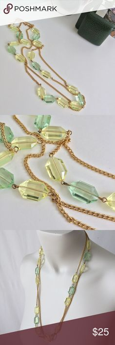 """Vintage Long Necklace with Beads EUC vintage necklace chain with  pale yellow & sea green colored beads -gold tone ▪️approximate length 26.5"""" if worn as single strand & can be adjusted various length including doubling up 🎁please ask ?s prior to purchase & rqst additional photos 🎁with all vintage items there may be signs of age & use-only severe/impactful issues will be noted 🎁all items should always be cleaned before wear Vintage Jewelry Necklaces"""