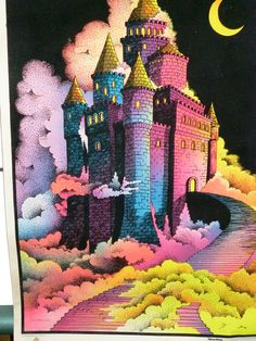 1976 BlackLight Poster The Enchanted Castle by TheSewWhatShop, $15.00