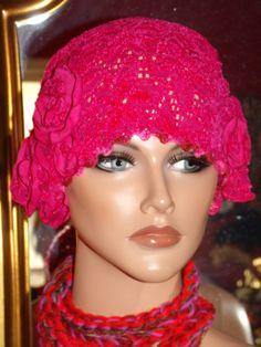 Hot Pink  Flapper Hat Cloche 1920 style by LudasHatBoutique, $49.99