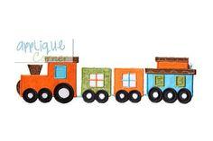 Train Set 4 Piece Set Applique Design