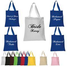Set of 5 Personalized Tote Bag Bride Tote Bag by AMPedUpTeeShop