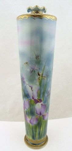 "Antique Hand Painted Oriental China Nippon 14"" Tall Floral Vase Gold Beading WOW 