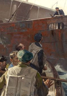 Slick Magazine Illustration - TOM LOVELL - Crew in Boat approach man on Ship with Gun