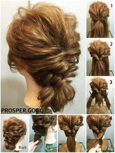 クルリンパを2回して、丸めるだけ♡ how two... ①耳上の髪を全て結びます。 ②①をクルリンパ。 ③襟足を左右に分けて、 ④①の上になる様に結びます。 ⑤④もクルリンパ。 ⑥クルリンパした毛先をくるくる丸めて、ピンで固定したら完成です♪