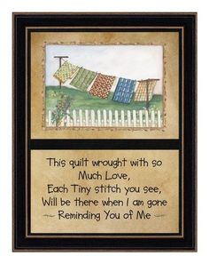 "The Craft Room PAT337SH Reminding Me of You, Hardwood Shaker Framed and Textured Two Part Wall Art by The Craft Room. $22.85. From the Manufacturer ""Reminding Me of You"" is an inspirational two part framed artwork with an attractive black hardwood Shaker frame. This artwork features a prominent image of quilts hanging on a clothes line on the top half of the presentation. The bottom portion of the piece presents a quilting themed verse entitled ..."