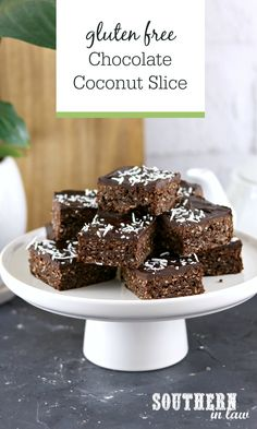 Gluten Free Chocolate Coconut Slice Recipe - this easy slice recipe is made in minutes with crisp, chewy edges and a creamy frosting on top. Chocolate Coconut Slice, Gluten Free Chocolate, Vegetarian Chocolate, How To Make Cake, Food To Make, Avocado Cookies, Flourless Cake, Gluten Free Cakes, Easy Cookie Recipes
