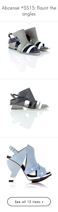 """Abcense #SS15: flaunt the angles"" by runway2street ❤ liked on Polyvore featuring shoes, sandals, ash grey, flat pumps, block sandals, grey flats, grey flat shoes, flat shoes, nero and slingback flats"