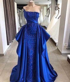 Robe De Soiree New Arrivals Elegant Royal Blue Long Evening Dress 2019 Luxury Beading Empire Sleeveless Satin Formal Party Dress Pretty Dresses, Blue Dresses, Beautiful Dresses, Prom Dresses, Formal Dresses, Cheap Evening Dresses, Evening Gowns, Vestidos Color Azul, Mermaid Gown Prom