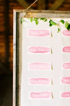 12 Lovely Ways to Incorporate Watercolor Into Your Wedding:  Escort Card