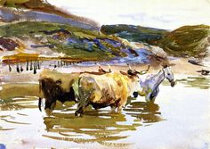 The Athenaeum - A Horse and Two Oxen at a Ford (John Singer Sargent - ) 1908