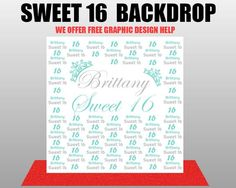 CUSTOM sweet 16 Step and Repeat Photography Custom backdrop / Photo Booth / Wedding / Baby Shower / Graduation / Parties /Birthday by eventbackdropbanners on Etsy https://www.etsy.com/listing/449766156/custom-sweet-16-step-and-repeat