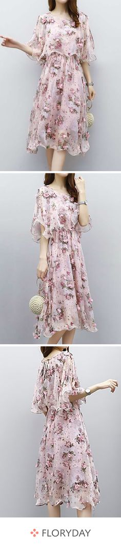 Floral sleeves midi X-line dress, floral dress, sweet, romantic. Cute Outfits With Jeans, Casual Fall Outfits, Casual Dresses, Floryday Dresses, Leather Leggings Look, Affordable Dresses, Buy Dress, Women's Fashion Dresses, Dress Collection