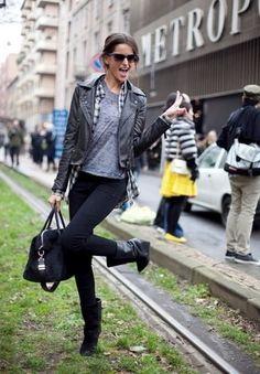 Women's Black Leather Biker Jacket, Black and White Plaid Button Down Blouse, Grey Crew-neck T-shirt, Black Skinny Jeans