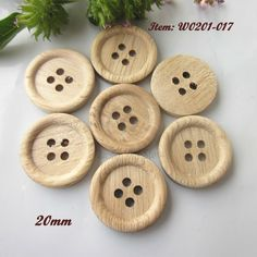 60 pcs 20mm ( 32L ) 4 holes thin edge natural wood pattern sewing wood buttons natural wood craft decorative accessories