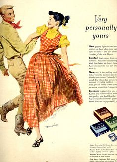 vintage square dance 1950 advertisement kotex by FrenchFrouFrou, $12.95
