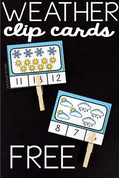 Free Weather Count and Clip Cards. Fun counting activity or addition center for kids.