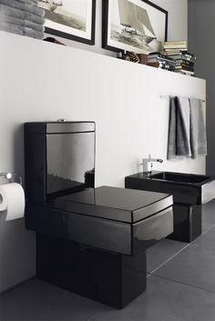 Black toilet fixtures, Duravit Vero.