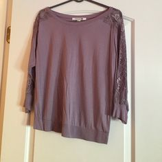 Forever 21 Purple Top EUC Forever 21 purple 3/4 sleeve top - lace sleeves. Forever 21 Tops Blouses