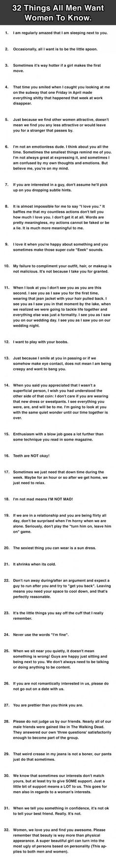 32 things men want women to know.
